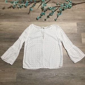 Anthropologie Three Dots Bell Sleeve Eyelet Top